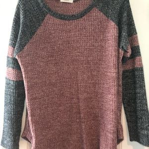 Maroon and grey sweater